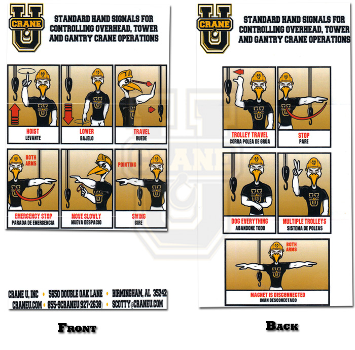 Crane Hand Signal Card - Overhead, Tower & Gantry