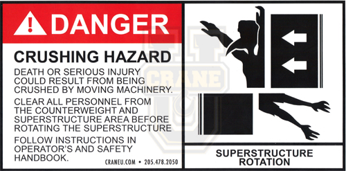 Crane Safety Decal - Counterweight Crushing