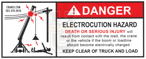 Crane Safety Decal - Electrocution Hazard