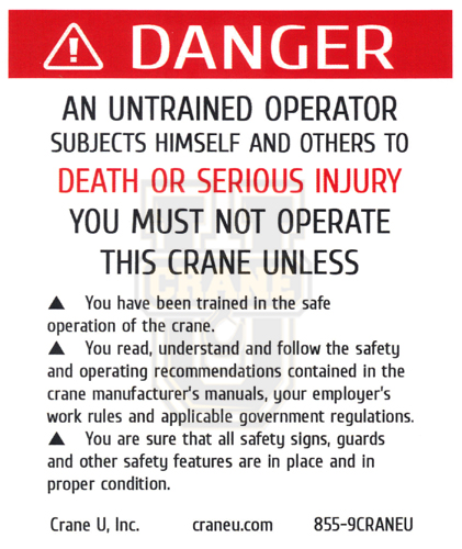 Crane Safety Decal - Operating Instructions